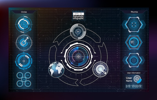 Abstract background with different elements of the hud. hud elements,graph. illustration.