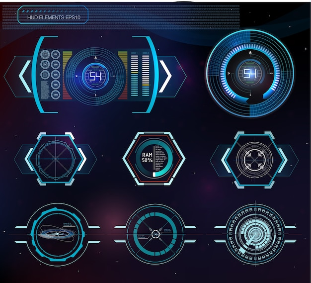 Abstract background with different elements of the hud. hud elements.