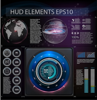 Abstract background with different elements of the hud.