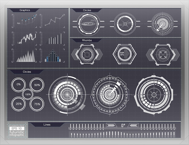 Абстрактный фон с различными элементами hud. элементы hud, граф. иллюстрация. элементы отображения заголовка для элементов инфографики.