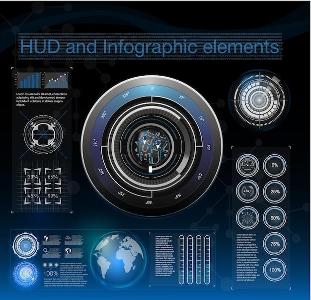 Hudのさまざまな要素と抽象的な背景。 hud要素、グラフ。イラスト。インフォグラフィック要素のヘッドアップディスプレイ要素。