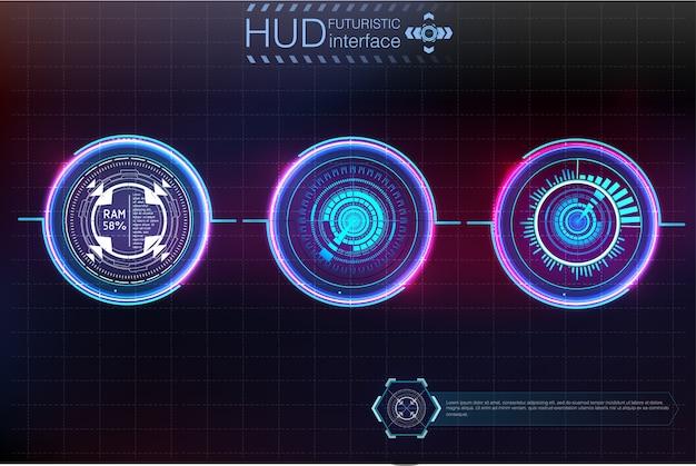 Hudのさまざまな要素と抽象的な背景。 hudの要素。図。情報グラフィック要素のヘッドアップディスプレイ要素。