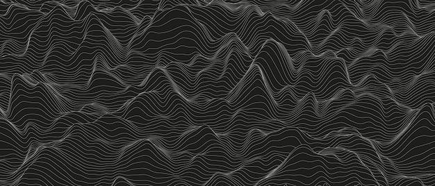 黒の背景に歪んだ線の形で抽象的な背景