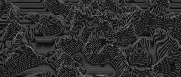 검정색 배경에 왜곡된 선 모양이 있는 추상적인 배경