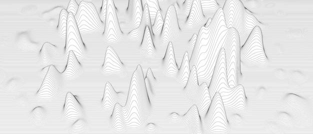 白い背景の上の歪んだ線の形と抽象的な背景