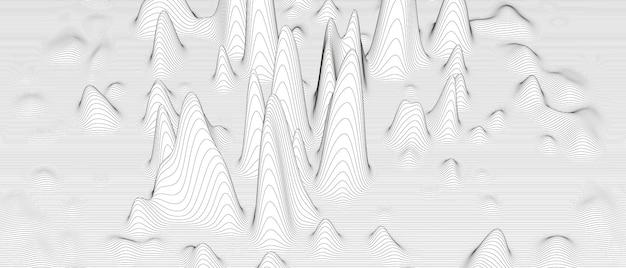 Sfondo astratto con forme linea distorta su bianco