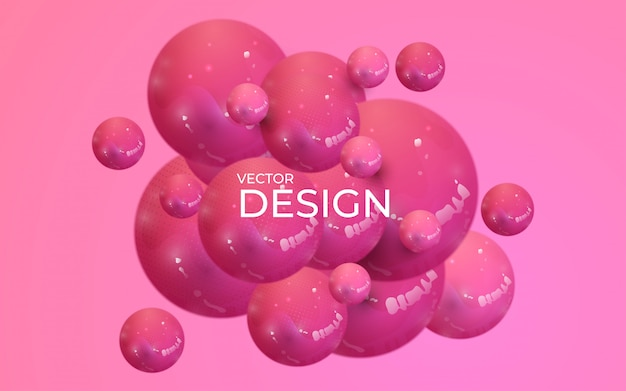 Abstract background with dynamic 3d spheres. plastic pastel pink bubbles.