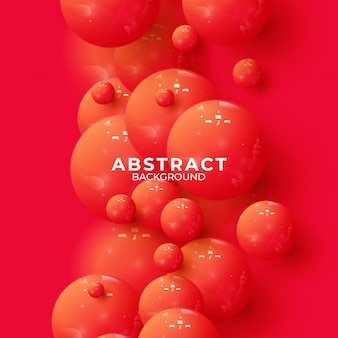 Abstract background with dynamic 3d spheres. vector illustration of glossy balls. modern trendy banner or poster design