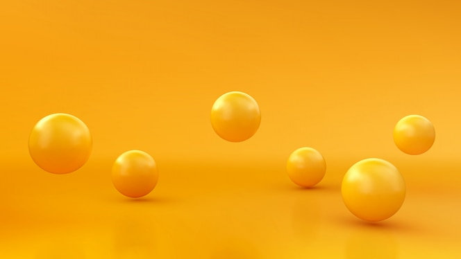 Abstract background with dynamic 3d spheres. yellow bubbles.   illustration of glossy balls. modern trendy banner design