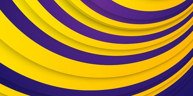 ダイナミックな効果を持つ抽象的な背景。トレンディな黄色と濃い紫色のグラデーション。