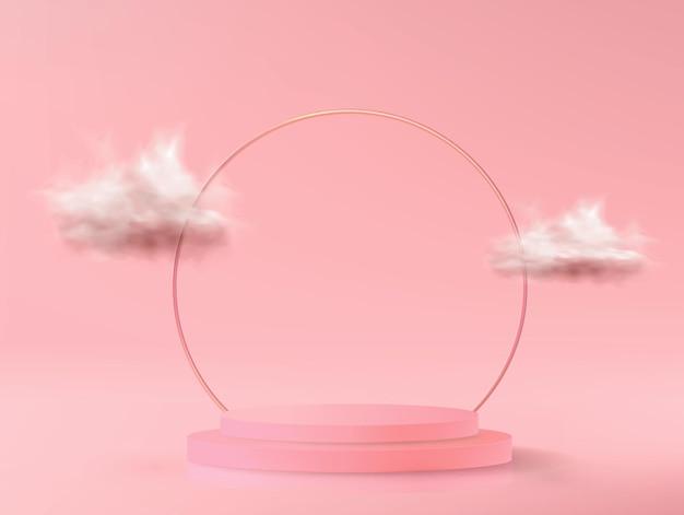 최소한의 스타일에 핑크 색상의 빈 연단과 추상적 인 배경