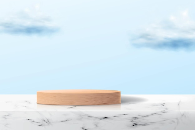 Abstract background with empty wooden platform on marble surface.
