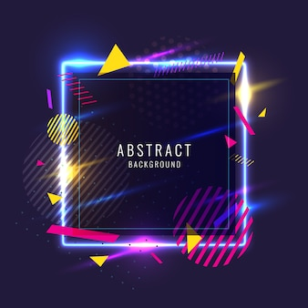 Abstract background with eometric shapes and neon glow