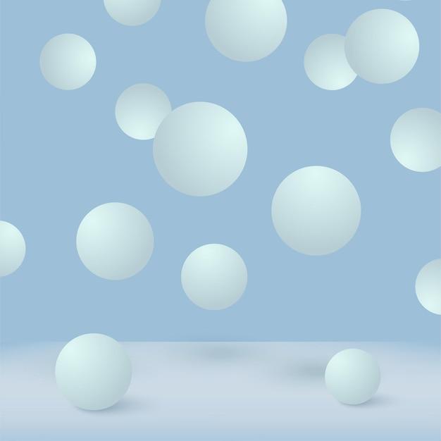 落下する3d青いボールと抽象的な背景。 Premiumベクター