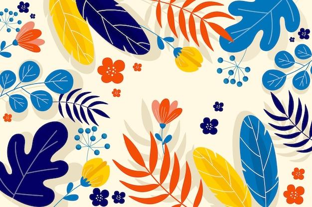 Абстрактный фон с цветами и листьями