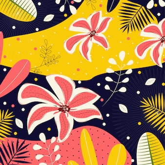 Abstract background with flowers and tropical leaves