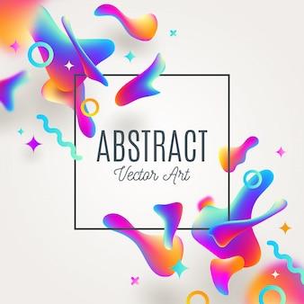 流体の色とりどりの形状とテキストのフレームと抽象的な背景。