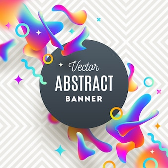 Abstract background with fluid multicolored shapes and round banner for message.