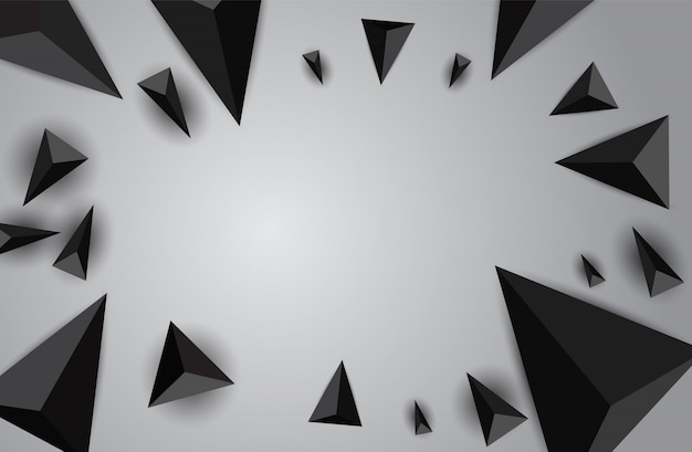Abstract background with flying triangles