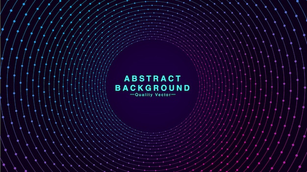 Abstract background with geometric circle line and particle dot in cyan and pink color. i