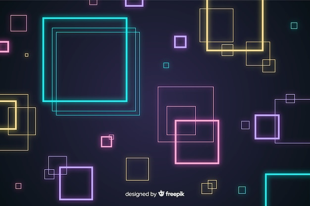 Abstract background with geometric neon shapes