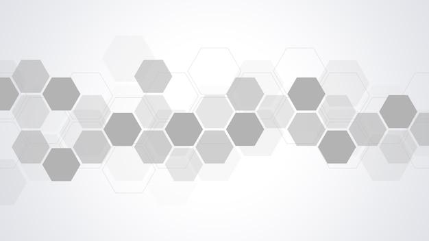 幾何学的な形と六角形の抽象的な背景。医学、技術または科学の設計。