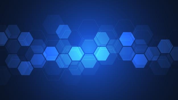 幾何学的な形と六角形の抽象的な背景。技術と科学の概念