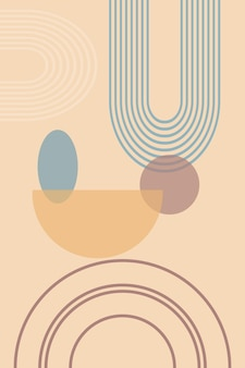 Abstract background with geometric shapes and lines with rainbow print and sun circle