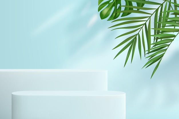 Abstract background with geometric shapes in pastel blue. a minimalistic scene with a set of podiums and tropical leaves in the background for product demonstration.
