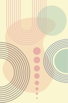 Abstract background with geometric shapes and rainbow lines in boho style