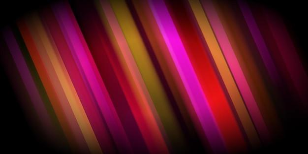 赤い色で輝くカラフルな斜めのストライプと抽象的な背景