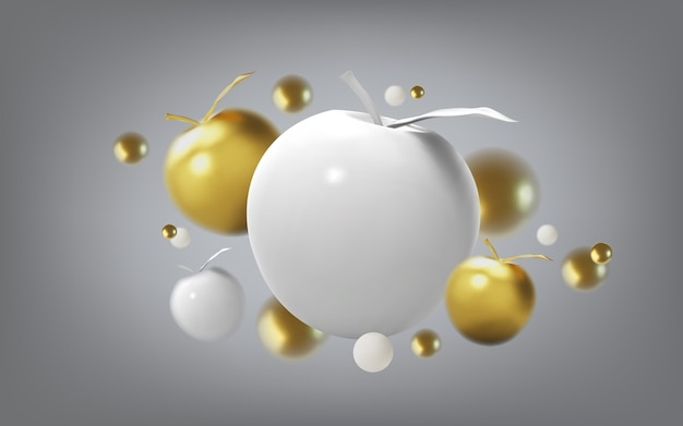 Abstract background with gold apple and metalic spheres, front view.  template for products, advertizing, web banners