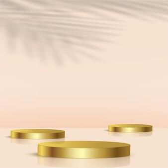 金色の幾何学的な3d表彰台と抽象的な背景。ベクトルイラスト