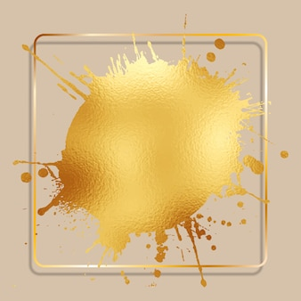 Abstract background with a gold foil splatter with a golden frame