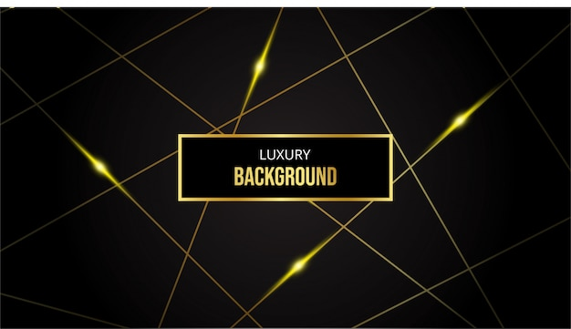 Abstract background with gold lines on black background
