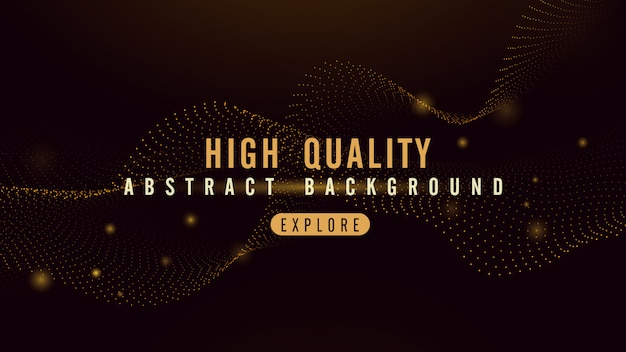 Abstract background with gold particles flow