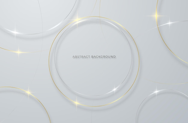 Abstract background with gold and silver circular lines on a gray background