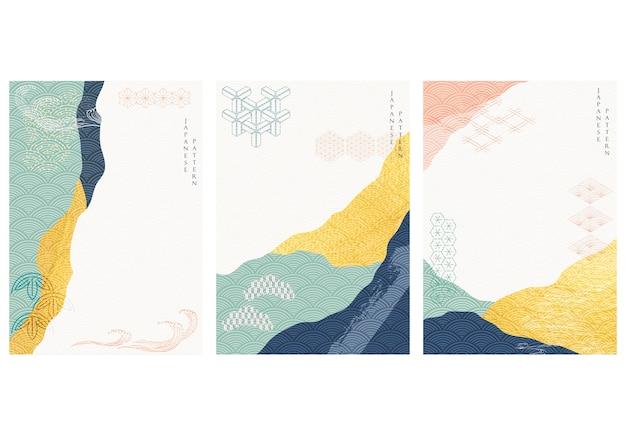 골드 텍스처와 추상적 인 배경입니다. 동양 스타일의 일본 물결 무늬가있는 아트 아크릴 요소.