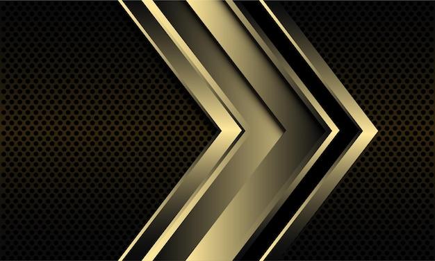 暗い金属の円メッシュに金色の矢印と抽象的な背景