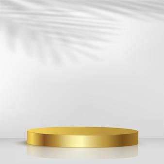 黄金色の幾何学的な3d表彰台と抽象的な背景。ベクトルイラスト