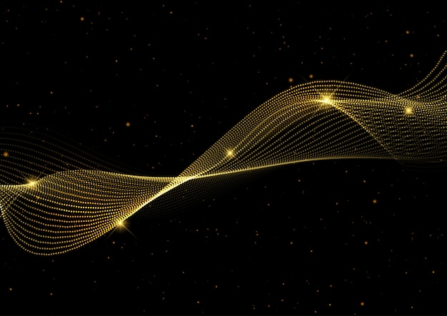 Abstract background with golden flowing waves