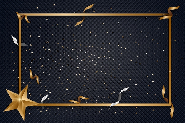 Abstract background with golden gift bow and star, confetti