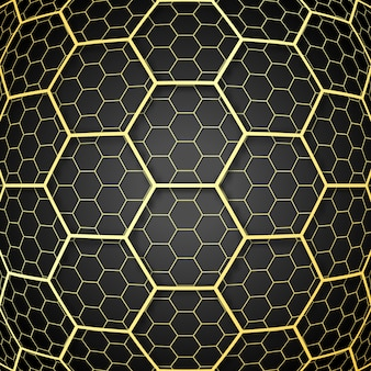 Abstract background with golden honeycomb cells design