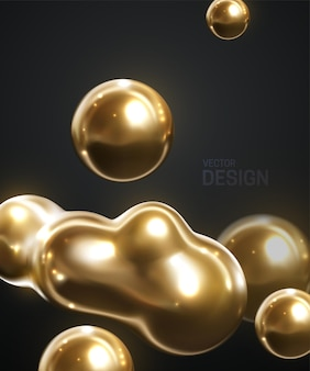 金色の有機ブロブの形で抽象的な背景