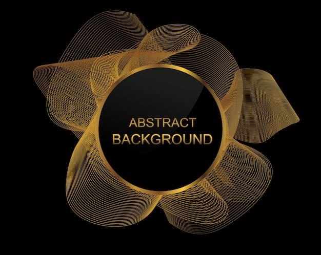 Abstract background with golden wavy lines