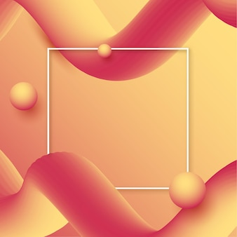 Abstract background with gradient waves and white border