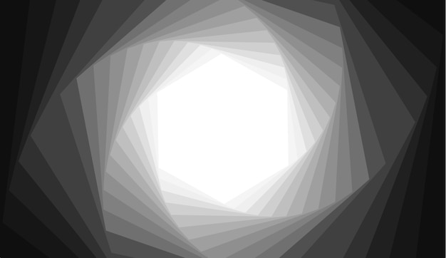 Abstract background with gray hexagon spiral shape.
