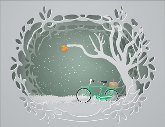 Abstract background with Green bicycle