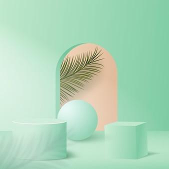 緑色の幾何学的な表彰台と抽象的な背景。