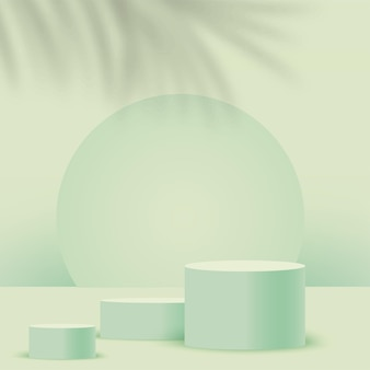 녹색 기하학적 3d 연단으로 추상적 인 배경입니다. 삽화.